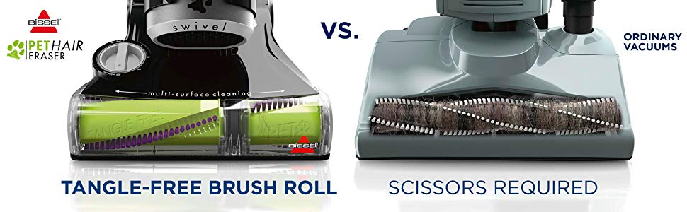 Bessell Pethair Eraser Tangle-free Brush Roll VS Ordinary Vacuums